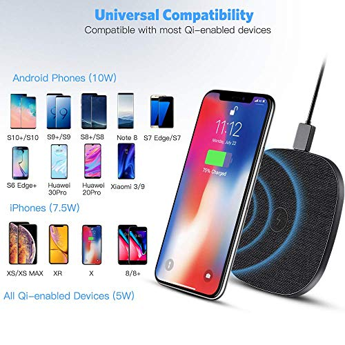 10 W Cargador Inalámbrico Rápido, AGPTEK Qi Wireless Charger 10W/7.5W/5W para iPhone 8/X/XS/XR/11/11Pro, Galaxy S10/S10+/S10E/S9/S9+/S9+/S8, Huawei Mate 20 Pro/ 30 Pro, Xiaomi 9/ Mix 2s/3, Airpods Pro