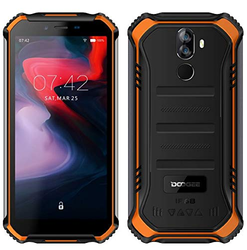 【2019】DOOGEE S40 (3GB+32GB) 4G Android 9.0 Sólido Móvil Libre Robusto - 5.5'' HD (Gorilla Glass 4) IP68/IP69K Militar Resistente IP68 Impermeable Smartphone, 4650mAh batería,DUAL SIM,GPS,NFC - naranja