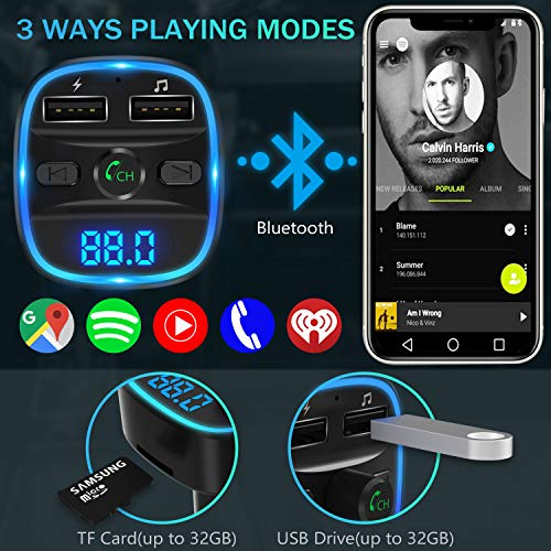 [2020 Versión] LENCENT Transmisor FM Bluetooth para Coche, Manos Libres Inalámbrico Reproductor MP3 Coche, Adaptador de Radio con Dual USB 5V/2.4A & 1A, Soporte Tarjetas SD, USB, y Flash Drive