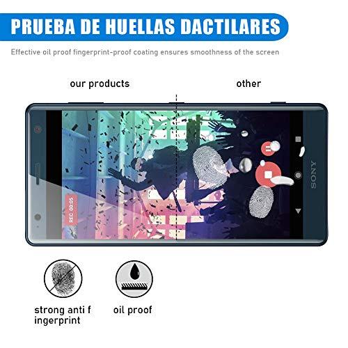 [3 Pack] Amonke Protector Pantalla para Sony Xperia XZ2 Cristal Vidrio Templado, Plana pero Incompleta Cobertura, 9H Dureza 2.5D curvo Borde Screen Protector para Sony Xperia XZ2
