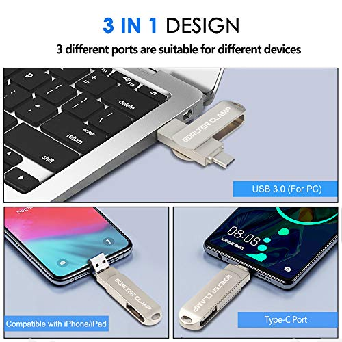 32GB Memoria USB 3.0 con 3 Puertos para iPhone 11/XR/X/8/7/6s/6 Plus, iPad, USB Type-C Teléfono y Computadora, BorlterClamp OTG Memory Stick Flash Drive 3 en 1 Pendrive
