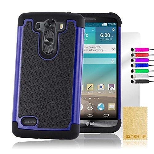 32nd® Funda Rígida Anti-Choques de Alta Proteccion para LG G3 S (G3 Mini / D722) Carcasa Defensora de Doble Capa - Azul