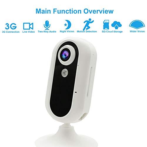 3G Cámara de Vigilancia, Jimi Cámara de Interior Seguridad Móvil con Video en Vivo/Visión Nocturna/De Dos Vías Audio/Movimiento/Detección de Sonido/Monitoreo de Mascotas GM01N