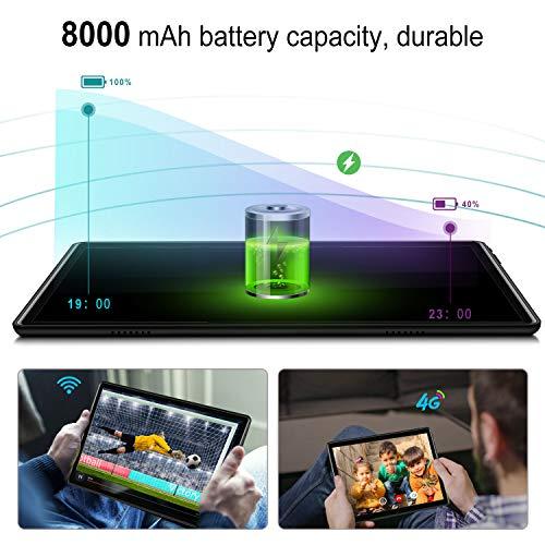 4G WiFi Tablet 10.1 Pulgadas , 2 in 1 Tablet con Teclado 4GB RAM+ 64GB ROM /128GB Escalables Android Tableta con Quad-Core 8MP 8000mAh Dual SIM Google Netfilx OTG Tablet PC