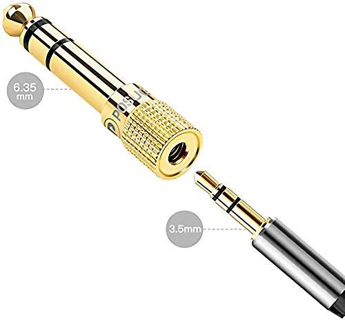 Adaptador Audio Jack 6.35 a 3.5, Posugear 2 Unidades Adaptador Convertidor de Audio Estéreo de Jack 3,5 mm Hembra a Jack 6,35 mm Mach