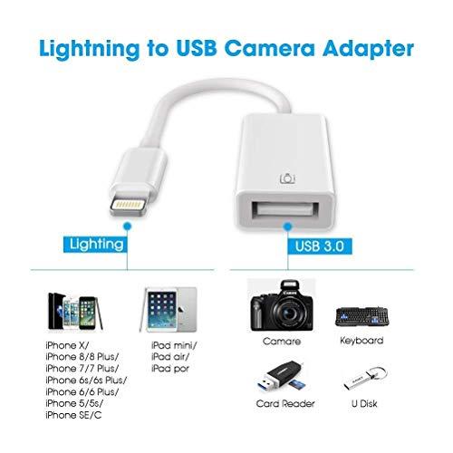 Adaptador de cámara USB, Adaptador de Cable OTG USB Adaptador Macho a USB Hembra Compatible con el teléfono/Pad Cable Adaptador OTG No se Requiere aplicación, Soporte iOS 12 Antes y después (White)