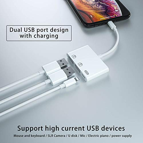 Adaptador de Cámara USB,3 en 1 Adaptador OTG Hembra Dual USB con Puerto de Carga Rápida,Compatible con iPhone 11 XS X 8 7,Lector de Tarjetas de Soporte,Teclado Midi,Adaptador Ethernet USB,Hubs,Mouse