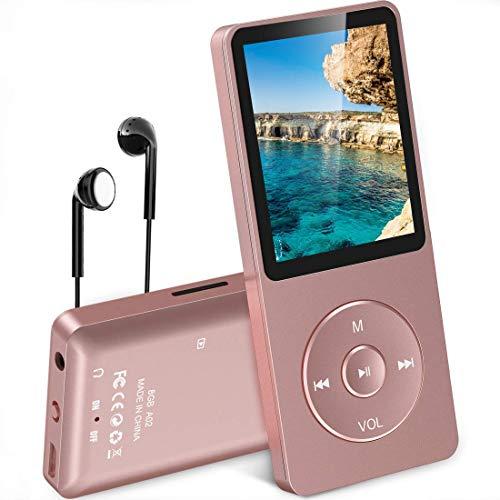 """AGPTEK- A02 Reproductor de MP3 8 GB Pantalla de 1,8"""" con Radio y Grabadora de Voz, Rosa"""