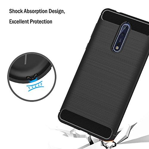 AICEK Funda Nokia 8, Negro Silicona Fundas para Nokia 8 Carcasa Nokia 8 Fibra de Carbono Funda Case (5,3 Pulgadas)