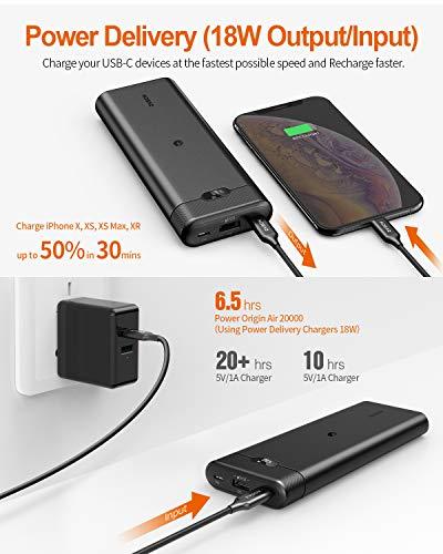 AIDEAZ Batería Externa 20000mAh Powerbank con Cargador inalámbrico, pantalla LCD, entrega de energía de 18W, Compatible para iPhone 11/11 Pro Max/X/XS/XR y Compatible para Samsung y Otros Dispositivos