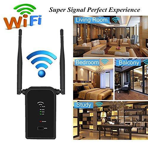 Aigital Repetidor Extensor de Rango Inalámbrico de 300 Mbps(2.4GHz,WPS,2 x Antenas Externas) Enrutador inalámbrico Repetidor de WiFi Amplificador Compatible con los Routers y ADSL(Negro)
