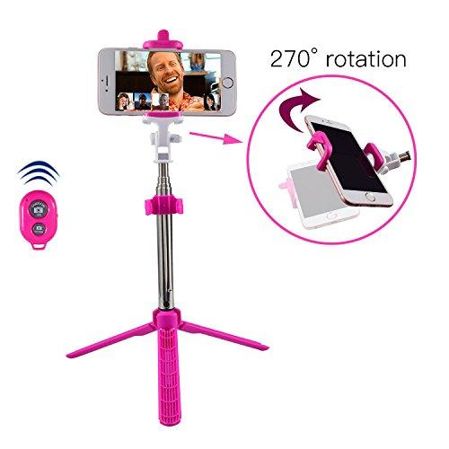 """Alfort Palo Selfie, Bluetooth Selfie Stick Trípode Wireless Mini con Obturador Remoto Bluetooth para iPhone 8/7 / Samsung A7 / S7 / Huawei P10 / P9 y Otros Android/iOS Teléfono 5.5"""" (Rosa)"""