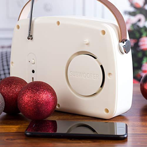 Altavoz Bluetooth Intempo® EE3332CRMSTKEU con radio FM y correa de transporte de cuero para iPhone, iPad, Samsung Galaxy, Android y otros dispositivos USB inteligentes, 21 cm, crema