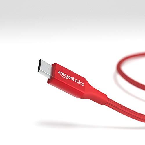 AmazonBasics - Cable macho de USB 2.0 C a micro-USB B, de nailon con trenzado doble | 0,3 m, Rojo