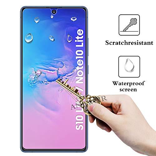 ANEWSIR 3 Piezas Protector de Pantalla para Samsung Galaxy S10 Lite/Samsung Galaxy Note 10 Lite,Cristal Templado,Dureza 9H, Resistencia al Desgaste, Resistencia al Rayado, fácil de Limpiar.