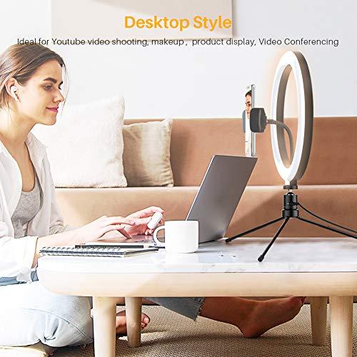 Anozer 10.2'' LED Anillo de luz con Trípode Metal de Escritorio y 57.1'' Trípode Largo Alternativo&Soporte Teléfono, luz de 3 Modo y 10 Brillo para Transmisión en Vivo/Youtube Video/Tiktok/Maquillaje