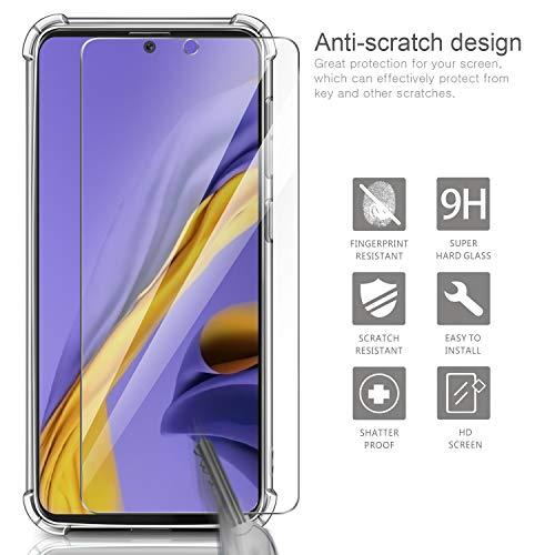 AROYI Funda Samsung Galaxy A51 + [2 Pack] Cristal Templado, [Reforzar la versión con Cuatro Esquinas] Ultra Flexible Transparente TPU Silicona Carcasa Protector Case para Samsung Galaxy A51