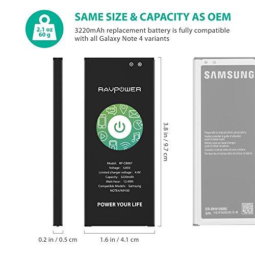 Batería Note 4 3220mAh RAVPower Batería de Li-Ion Respuesto Bateria para Samsung Note4 con NFC 3.85V 12.40Wh