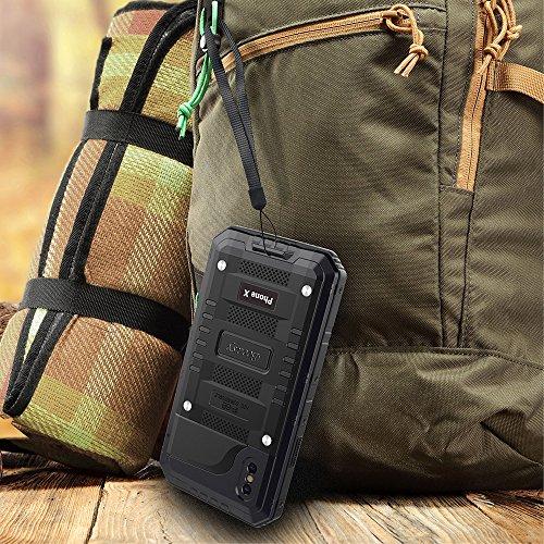 Beeasy Funda Antigolpes iPhone X,[Sumergible] Carcasa Impermeable 360 Protección Completa Resistente Reforzada Acuática Waterproof Metálica Grado Militar Aluminio Antipolvos Case para iPhone 10,Negro