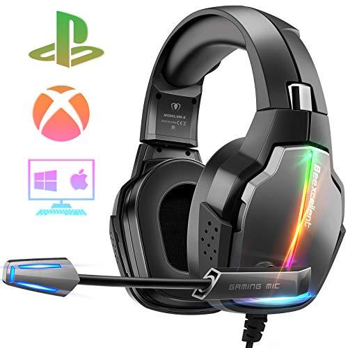 Beexcellent Cascos Gaming PS4, 4 Modos de Iluminación RGB y Orejeras Giratorias de 180°, Auriculares Estéreo Avanzados para Juegos con Micrófono Flexible, Compatibles con PS4/PS5/Xbox One/PC/Switch