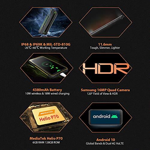 Blackview BV6300 Pro Móvil Resistente Android 10, 11.6 mm Cuerpo Delgado, Helio P70 6GB+128GB, Cámara Cuádruple HDR 16MP, Carga Inalámbrica, Robusto Teléfono Impermeable IP68, 5.7 '' HD+ NFC Verde