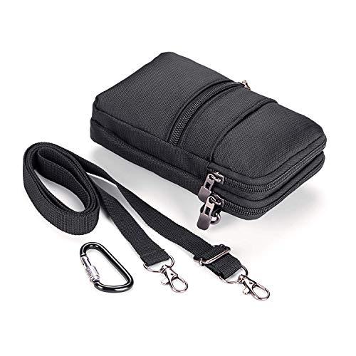 Bolsa Cintura Nylon, RFID Bolso Multiusos Impermeable Cinturón Herramientas con Mosquetón Senderismo y Camping Teléfono Móvil Pasaporte para iPhone X 8 7 6 Plus Samsung S9 S8 Plus