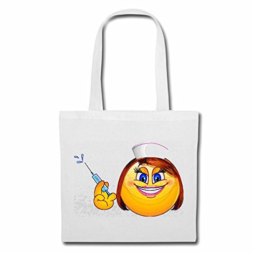 Bolsillo Bolso Bolsa SMILEY DAME AS enfermera con la jeringa SMILEYS LOS SMILIES ANDROID IPHONE EMOTICONOS IOS sa EMOTICON sonrisa APP Bolsa de deporte Bolsas de Blanco