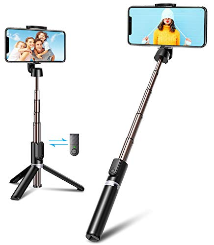 Bovon Palo Selfie Tripode, 3 en 1 Mini Tripode para Movil con Bluetooth y Control Remoto, Selfie Stick Extensible Compatible con iPhone 12 Pro Max/12 Mini/iPhone 11Pro Max/11 Pro, Galaxy S20, Huawei
