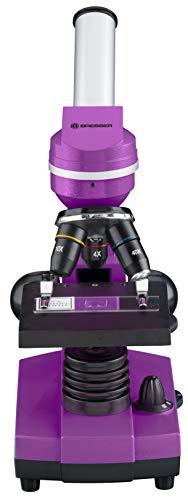 Bresser Junior BIOLUX Sel - Microscopio Infantil con Soporte para Smartphone, Accesorios y Sistema de Zoom Barlow para niños, Principiantes y Adultos, Color Morado