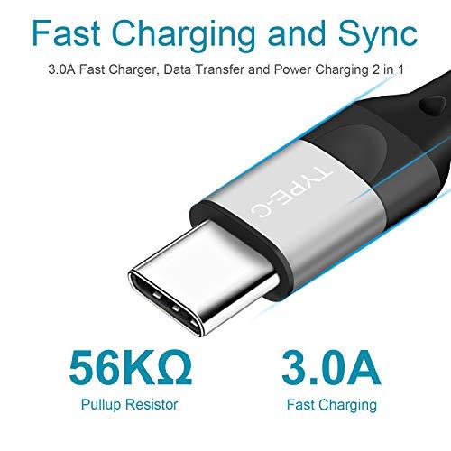 Cable USB C para Xiaomi Redmi Note 7 8 Pro 8T 9,Mi 10 Pro/9 SE Lite 9T/Note 10 A3,Samsung S20 Plus Ultra 5G S10 S9 A20E A51 A71 A8 A9 2018 A5 2017 Pocophone F1 Cargador Tipo C de Nylon Type-C,2M 2M