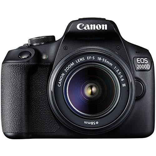Canon EOS 2000D + EF-S 18-55mm f/3.5-5.6 III Juego de cámara SLR 24,1 MP CMOS 6000 x 4000 Pixeles Negro - Cámara Digital (24,1 MP, 6000 x 4000 Pixeles, CMOS, Full HD, Negro)