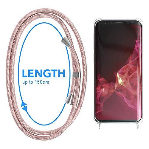 Carcasa de movil con Cuerda para Colgar Samsung Galaxy Note 9 -Funda para iPhone/Samsung/Huawei con Correa Colgante para Llevar en el Cuello -Hecho a Mano en Berlin[Transparente TPU Case/Oro rosa]