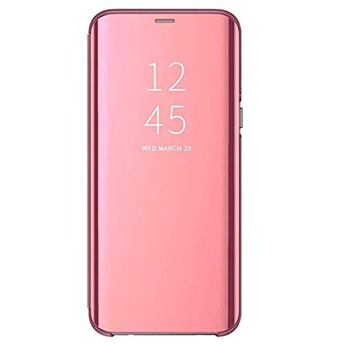 """Carcasa Samsung Galaxy J3 2017/J5 2017 Flip Fundas Espejo PC Clear View Transparente 360° Protectora Anti-Choque Ultra Delgado con Función de Soporte para J7 2017 5.5"""" (J3 2017, Oro Rosa)"""