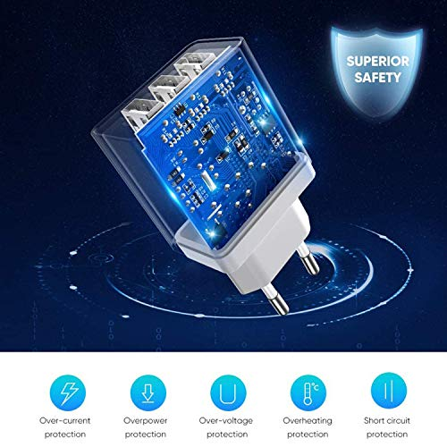Cargador Usb Multiple Carga Rapida para Samsung A71 A50 A70 A40 A20E A30S A80 A90 A11 A21 A31,Galaxy A3 A5 2017,A8 A9 2018,Sony xperia XA1 XA2,L3 L2 L1 L4,XZ1 XZ2 XZ3 XZ,3 Puertos:QC 3.0/5.4A+2M Cable