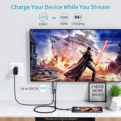 CHOETECH USB C a HDMI Cable(4K@60Hz) PD 60W, USB 3.1 Tipo C a HDMI Cable para Macbook Air 2020/2019/2018,iPadPro,MacbookPro2020/2019, iMac,Samsung S20/S10E/Note8/S9+ S8,HuaweiP30/40 Pro/ Mate20 ect.