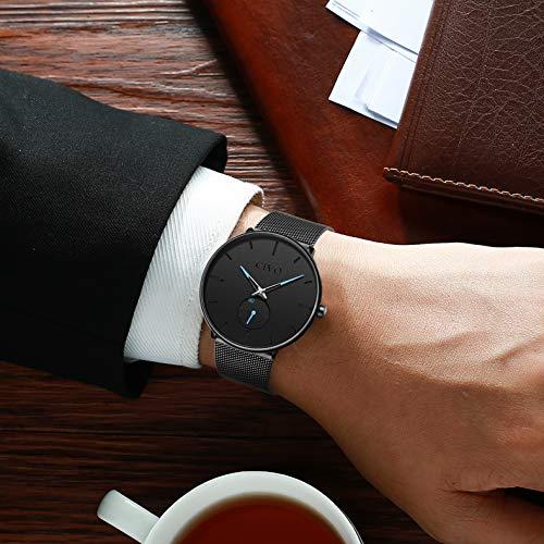 CIVO Reloj Negro Ultra Fino para Hombre Minimalista Moda Relojes de Pulsera para Hombres Vestir Casual Impermeable Reloj de Cuarzo para Hombre con Banda Negro de Acero Inoxidable (1 Negro)