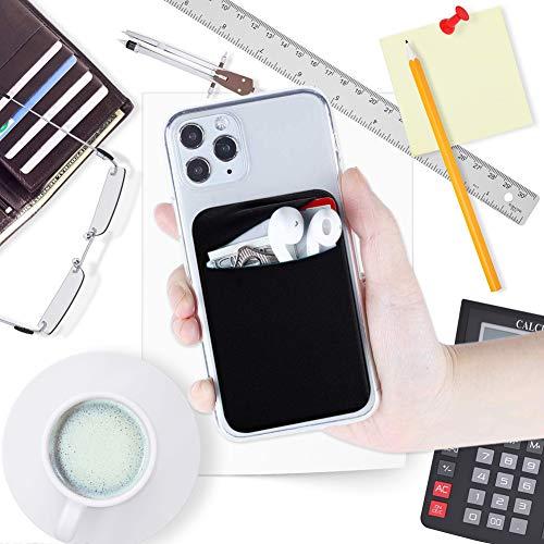 CKANDAY Paquete de 3 Tarjetas para teléfono Celular con Adhesivo para la Parte Posterior del teléfono,Fundas para Tarjetas de Tela elástica ID Tarjeta crédito Pocket Stick en la Billetera teléfonos