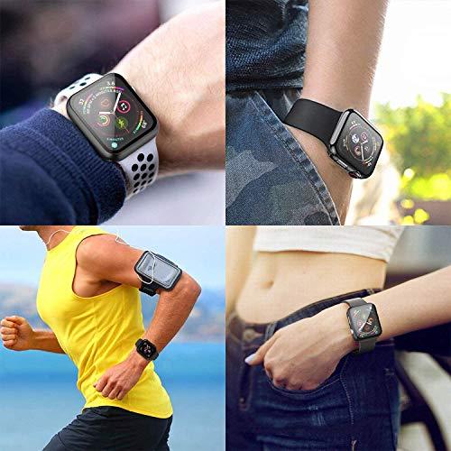 Compatible con Apple Watch 44mm Serie 6/SE/5/4 Funda+Cristal Templado, Qianyou PC Case y Vidrio Protector de Pantalla Integrados, Slim Cover de Bumper y Protector Pantalla (Negro)