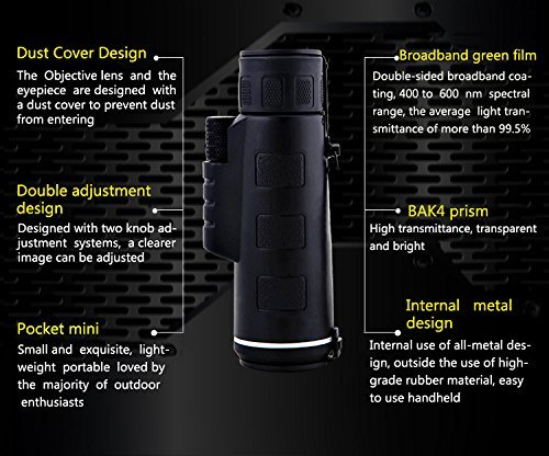 CompraFun Telescopio Monocular 40X60 con Enfoque Dual Zoom Óptico Impermeable Visión Partido Fútbol Pájaros Turismo Caza Senderismo Conciertos Viaje Navegación a Prueba de Nieble Día y Noche