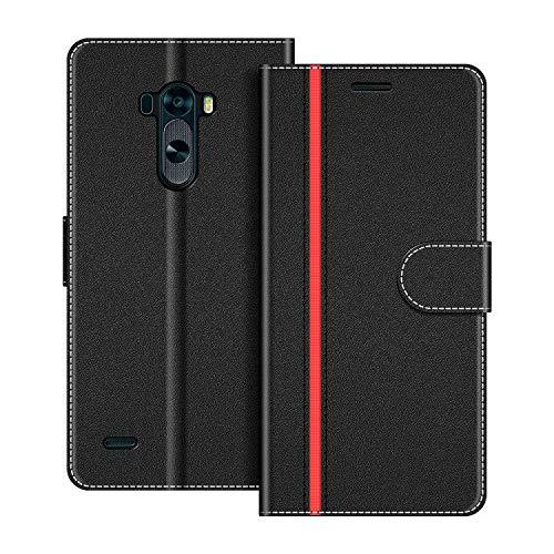 COODIO Funda LG G3 con Tapa, Funda Movil LG G3, Funda Libro LG G3 Carcasa Magnético Funda para LG G3, Negro/Rojo