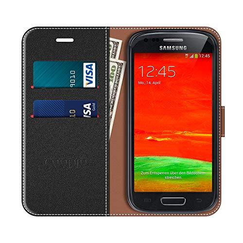 COODIO Funda Samsung Galaxy S3 Mini con Tapa, Funda Movil Samsung S3 Mini, Funda Libro Galaxy S3 Mini Carcasa Magnético Funda para Samsung Galaxy S3 Mini, Negro/Rojo
