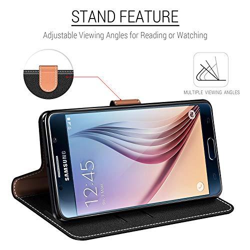 COODIO Funda Samsung Galaxy S6 con Tapa, Funda Movil Samsung S6, Funda Libro Galaxy S6 Carcasa Magnético Funda para Samsung Galaxy S6, Negro