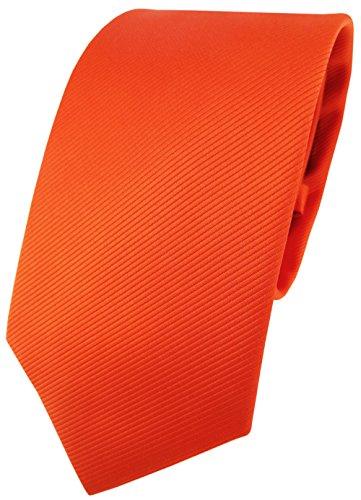 Corbata de diseño TigerTie de un solo color, estructura Rips Naranja orange leuchtorange