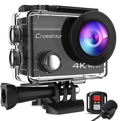 Crosstour CT8500 Cámara Deportiva 4K Wi-Fi 20MP (Cámara de Accion Acuatica de 40M con Micrófono Externo y Control Remoto, Funciones EIS Anti-Vibración y 20 Kits de Montaje de Accesorios)