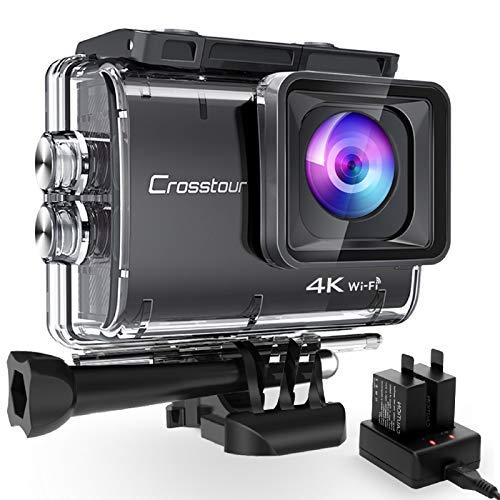 Crosstour CT9500 Nativo 4K50FPS Cámara Deportiva Wi-Fi Camara de Accion (Sumergible de 40M Camara Acuática con Ángulo de visión ajustable y EIS, 2 Baterías de 1350 mAh y Montaje de Accesorios)