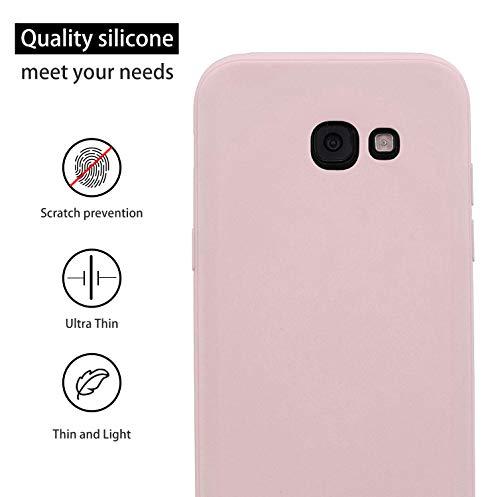 cuzz Funda para Samsung Galaxy A5 2017+{Protector de Pantalla de Vidrio Templado} Carcasa Silicona Suave Gel Rasguño y Resistente Teléfono Móvil Cover-Rosa Claro