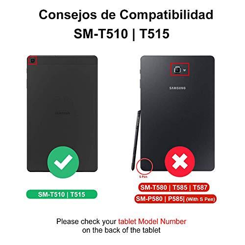 Dingrich Funda Teclado para Samsung Galaxy Tab A 10.1 2019 T510 T515 (Español Ñ), Funda con Teclado Bluetooth Inalámbrico 7 Color Retroiluminación Extraíble Magnético para Galaxy Tab A 10.1 T510/T510