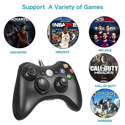 Diswoe Xbox 360 Mando de Gamepad, Controlador Mando USB de Xbox 360 con Vibración, Controlador de Gamepad para Xbox 360 Mando para PC Windows XP/7/8/10