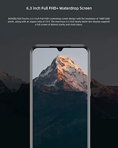 DOOGEE N20 2019 Smartphone Libre 4G, Android 9.0 Telefonos Moviles Libres Baratos Dual Sim Octa Core 4GB RAM+64GB ROM, 6.3 Pulgadas FHD+,Cámara 16MP+8MP+8MP+16MP, 4350mAh Face ID+Huella Digital, Azul