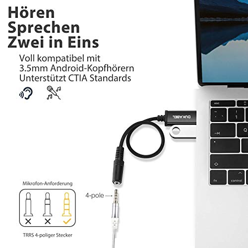 DuKabel Tarjeta de sonido externa USB USB a conector de 3,5 mm (4 polos CTIA) Cable adaptador de audio estéreo Tarjeta de sonido externa para auriculares, altavoz o micrófono TRRS de 4 polos - Negro